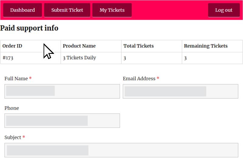 submit ticket info